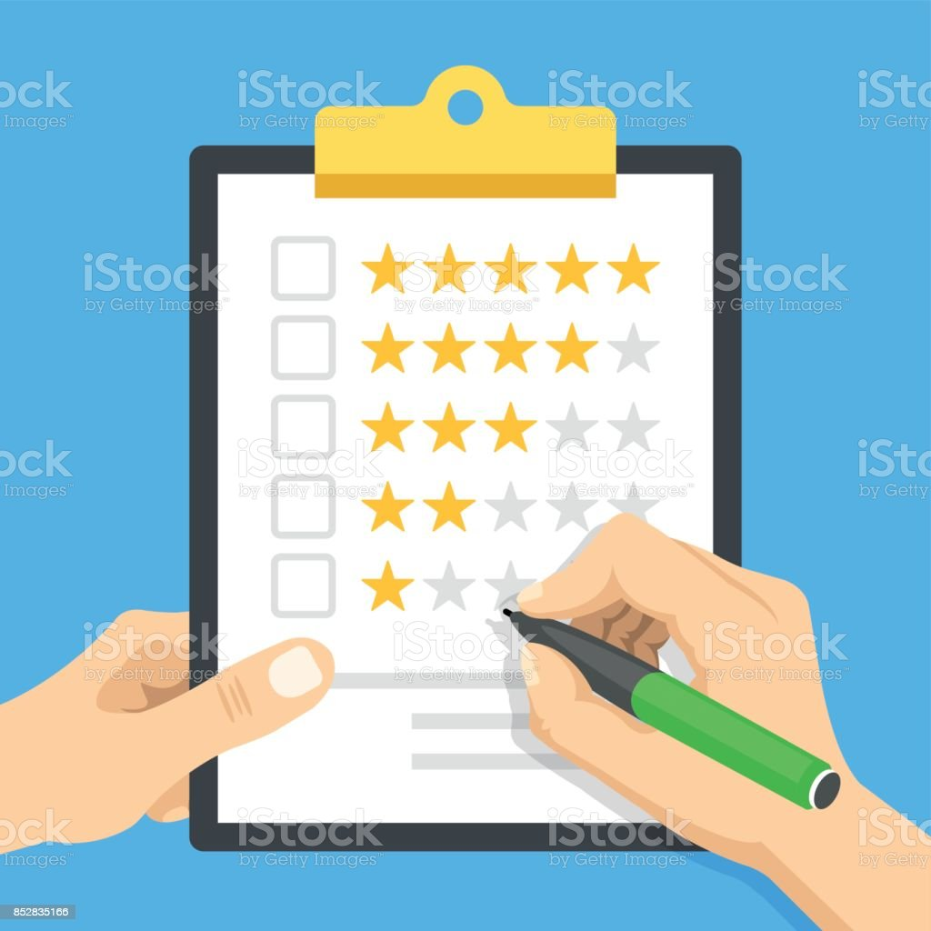 Clipboard with star rating. Hand holding clipboard and hand holding pen ready to check checkbox. Customer review, quality control, marketing, evaluation concept. Modern flat design vector illustration vector art illustration