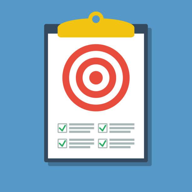 stockillustraties, clipart, cartoons en iconen met klembord met target en gecontroleerd to-do lijst, succes strategie platte vector concept - scoren