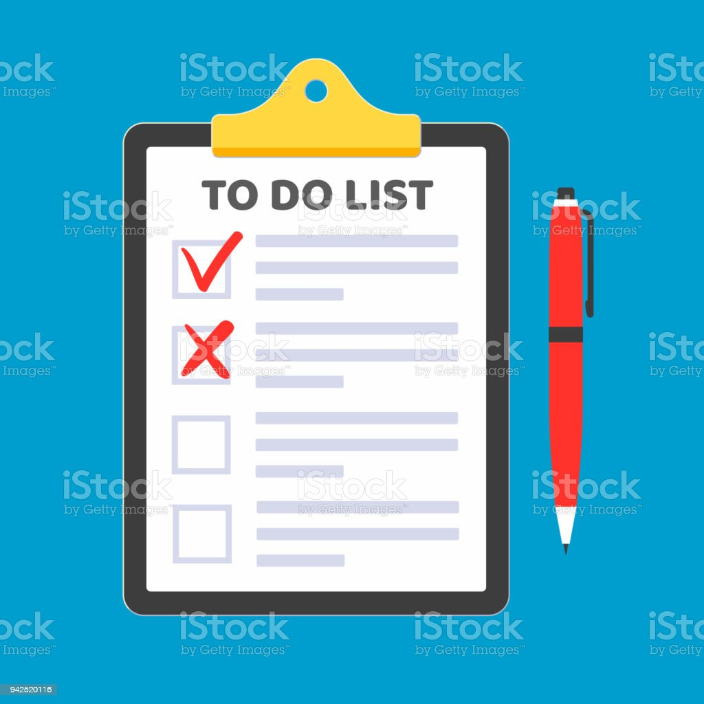 clipboard with to do list claim form on it paper sheets check marks
