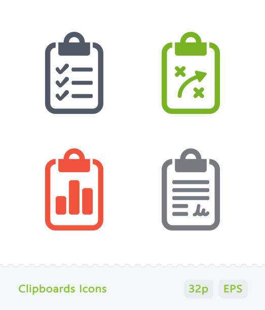 ilustrações de stock, clip art, desenhos animados e ícones de clipboards - sticker icons - inteiro