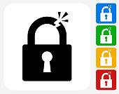 Clipped Lock Icon Flat Graphic Design