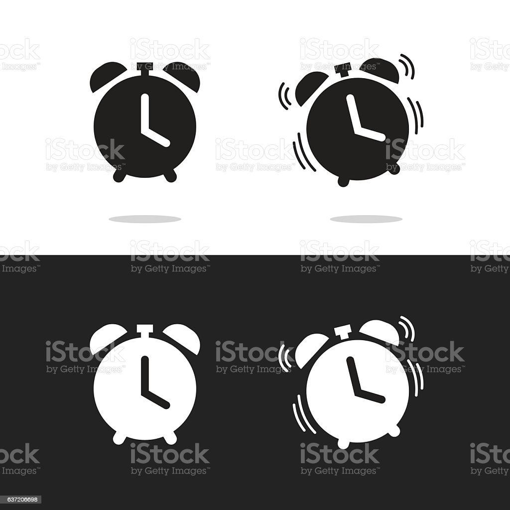 Clock alarm icon vector isolated on white and black background