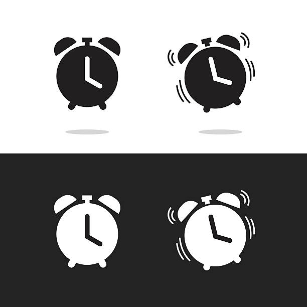 Clock alarm icon vector isolated on white and black background vector art illustration