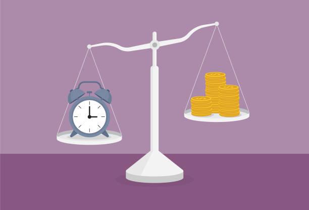 illustrazioni stock, clip art, cartoni animati e icone di tendenza di clock and a stack of coin on the scale - proporzione