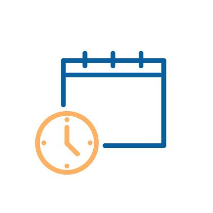 時鐘和日曆簡單的圖示商業排程辦公室日常工作交貨期截止日期等的向量插圖向量圖形及更多一週圖片