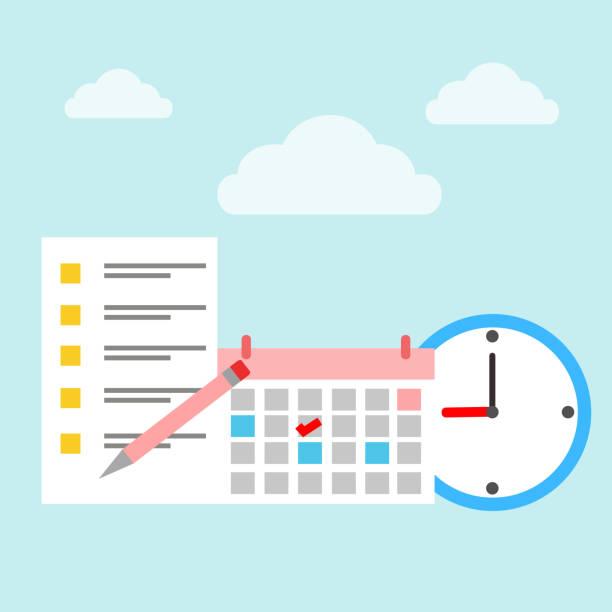 時計とカレンダーのタイム スケジュール - トレーニングのカレンダー点のイラスト素材/クリップアート素材/マンガ素材/アイコン素材