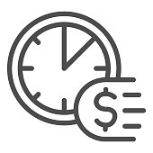 Clock and dollar line icon, Payment problem concept, Time is a money sign on white background, deadline for payment icon in outline style for mobile concept and web design. Vector graphics
