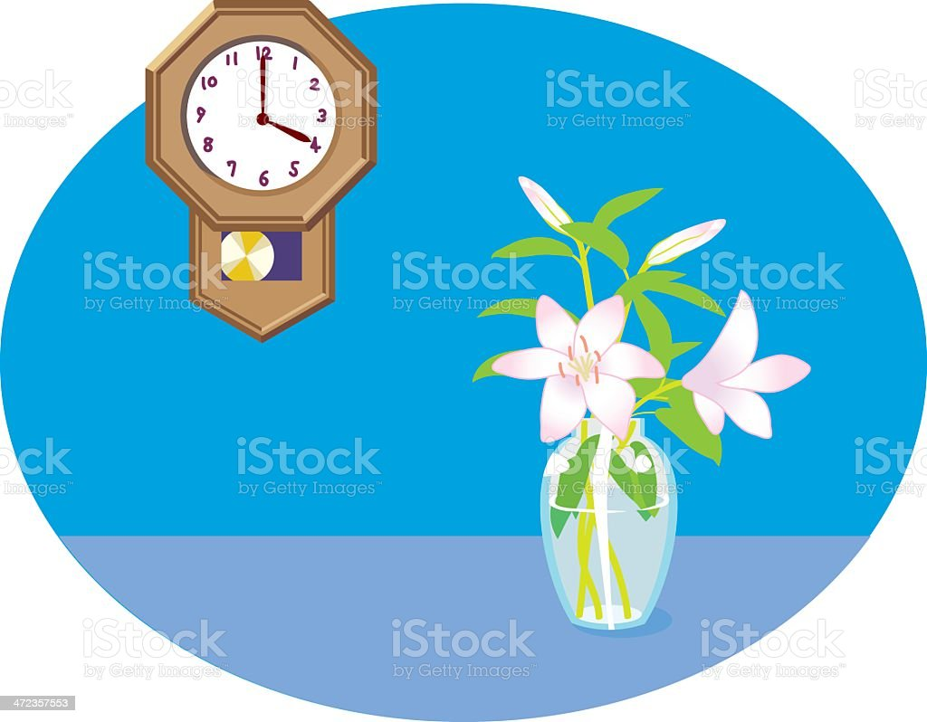 clock and lily royalty-free stock vector art