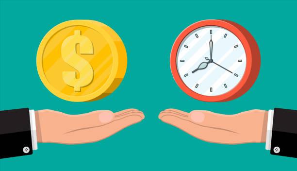 Uhr und Geld auf der Handwaage – Vektorgrafik
