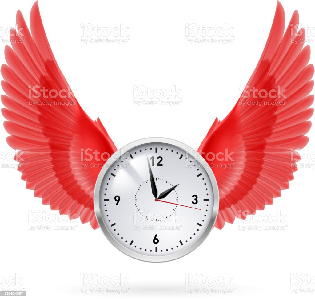 Clock and red wings vector art illustration