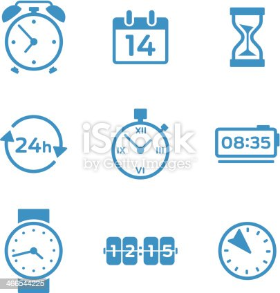 Clock and time keeping icons and elements.
