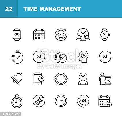 20 Clock and Time Management Outline Icons.