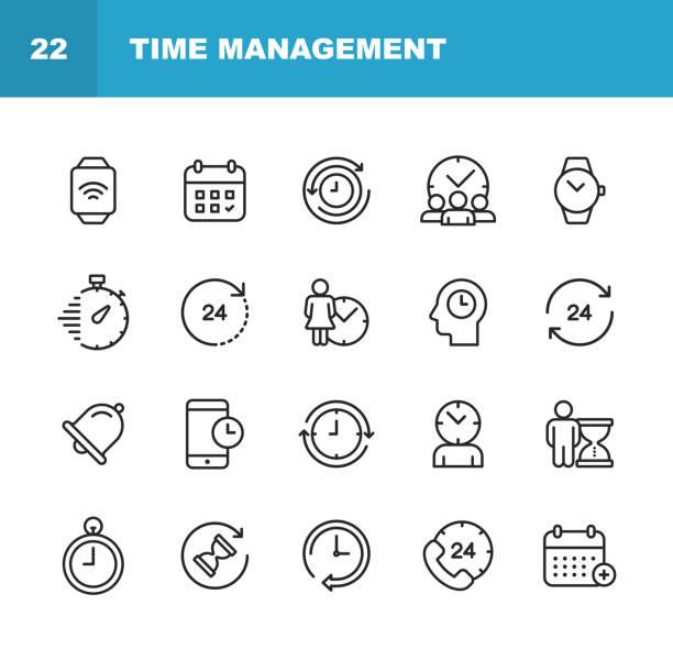 ikony linii zarządzania zegarem i czasem. edytowalny obrys. pixel perfect. dla urządzeń mobilnych i sieci web. zawiera takie ikony jak zegar, czas, stoper, zarządzanie, kalendarz. - czas stock illustrations