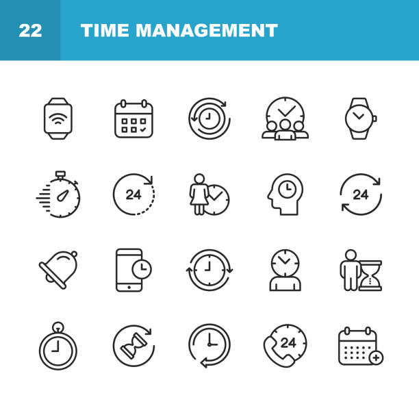 illustrazioni stock, clip art, cartoni animati e icone di tendenza di clock and time management line icons. editable stroke. pixel perfect. for mobile and web. contains such icons as clock, time, stopwatch, management, calendar. - data