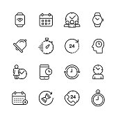 16 Clock and Time Management Outline Icons.