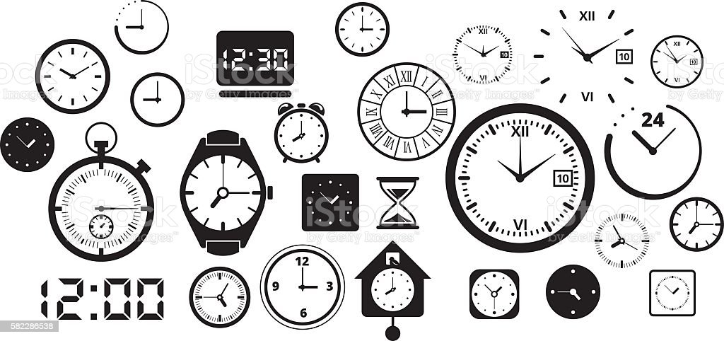 Clock and Watch Big Collection vector art illustration