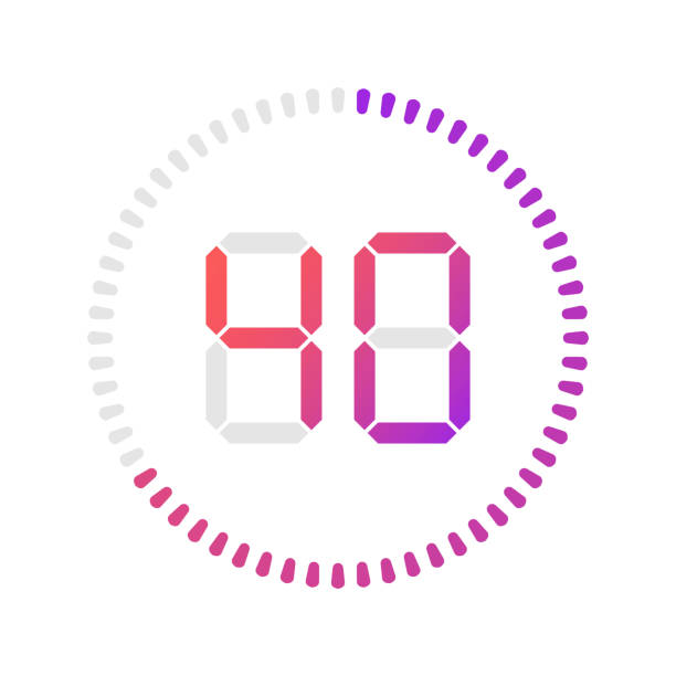Clock and watch. Vector. The 1 minutes, stopwatch vector icon, digital timer. Vector digital count down circle board with circle time pie diagram. Watch outline style design, designed for web and app. instrument of time stock illustrations
