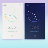 Clock application, concept of contrast UI design, day and night variants. Digital countdown app, user interface kit, mobile clock interface. UI elements, 3D illustration