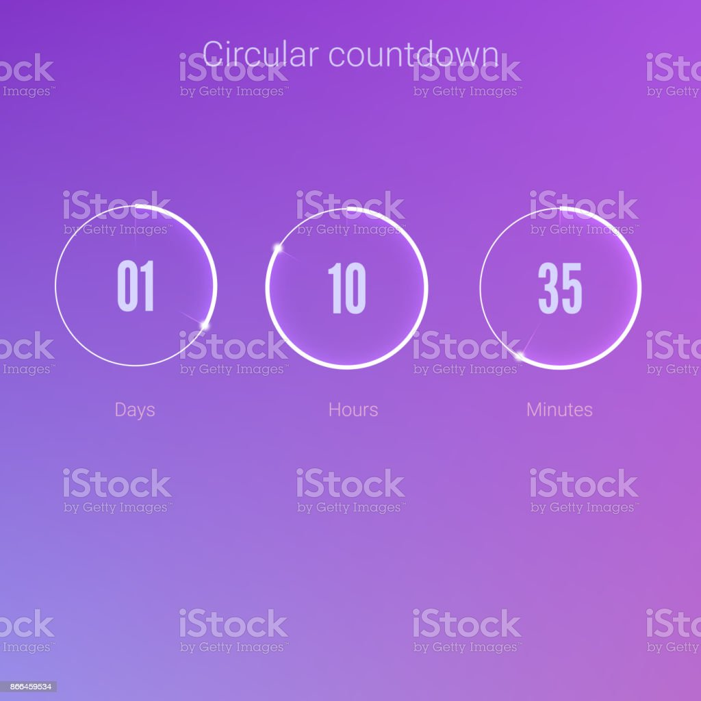 Clock application, UI elements. Design of countdown timer for coming soon or under construction action. Part of the User interface, circular counter. Template of digital clock vector art illustration