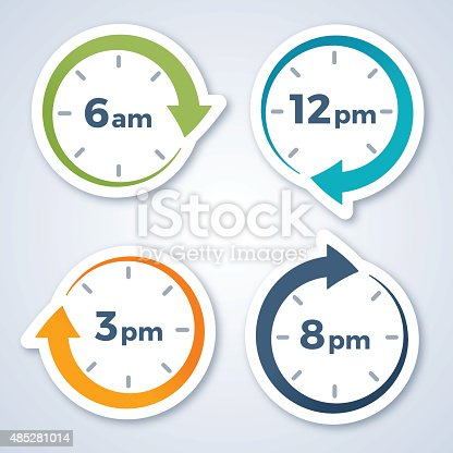 Clock arrow symbols showing 6 am, 12 pm noon, 3 pm and 8 pm. EPS 10 file. Transparency effects used on highlight elements.