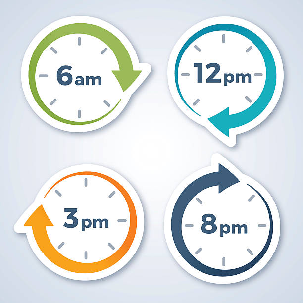 clock arrow symbols - clock face stock illustrations, clip art, cartoons, & icons