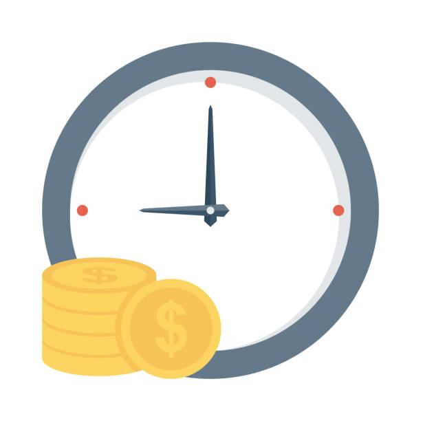 Clock coin Flat Vector Icon Clock coin Flat Vector Icon time is money stock illustrations