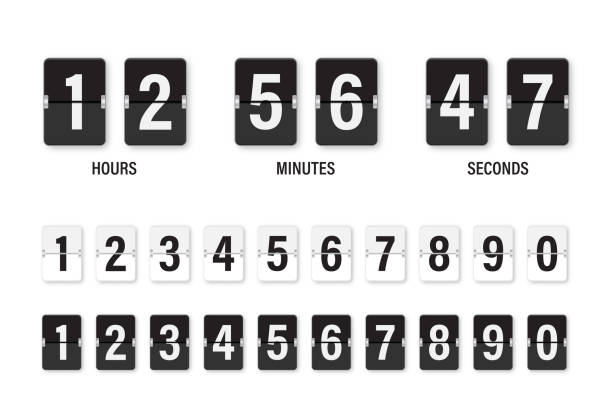 Clock countdown display. Set numbers flip watch. Black and white date counter flip display isolated on white background. Clock countdown display. Set numbers flip watch. Black and white date counter flip display isolated on white background. Vector illustration. airport designs stock illustrations