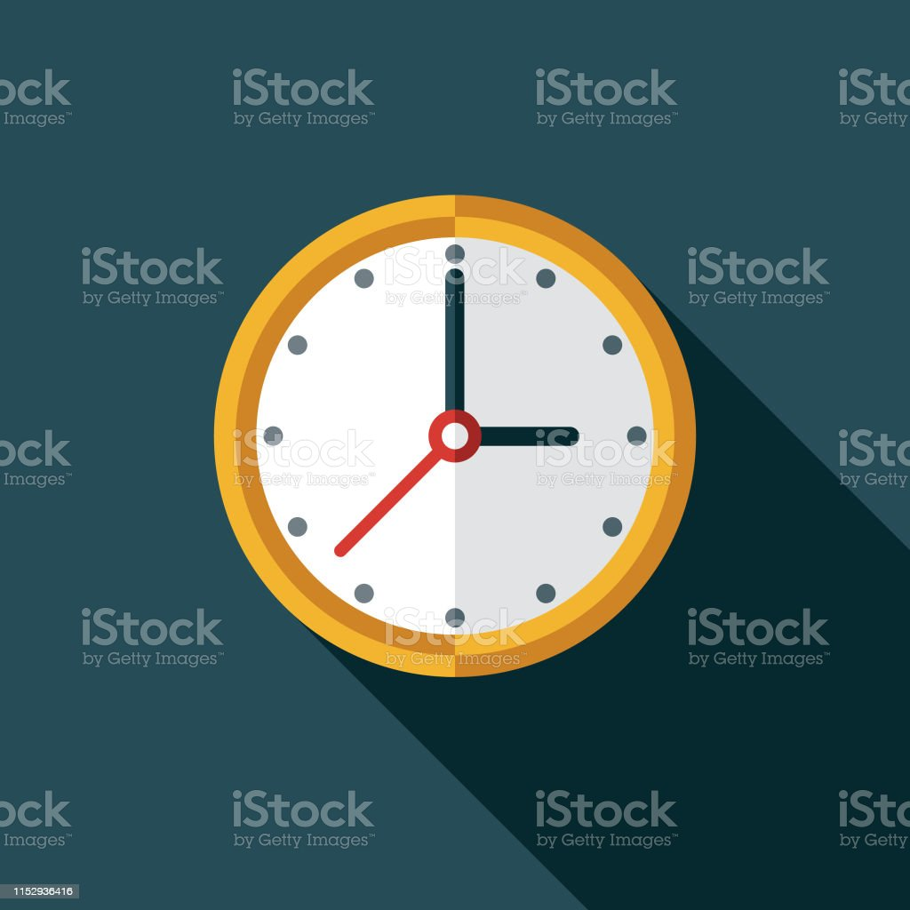 Clock Customer Service Icon A flat design icon with a long shadow. File is built in the CMYK color space for optimal printing. Color swatches are global so it's easy to change colors across the document. A Helping Hand stock vector