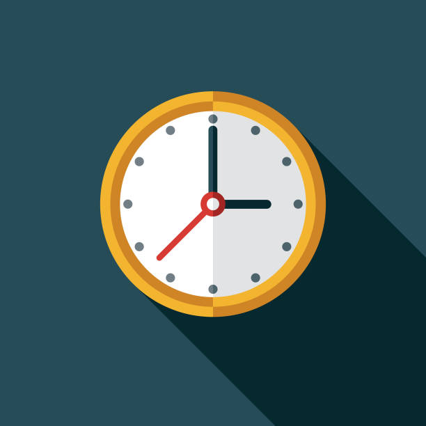 Clock Customer Service Icon A flat design icon with a long shadow. File is built in the CMYK color space for optimal printing. Color swatches are global so it's easy to change colors across the document. clock stock illustrations