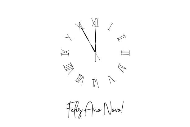 Clock dial Feliz ano novo Happy new year Portuguese handwritten text. Clock dial Feliz ano novo Happy new year Portuguese handwritten text. ano novo stock illustrations
