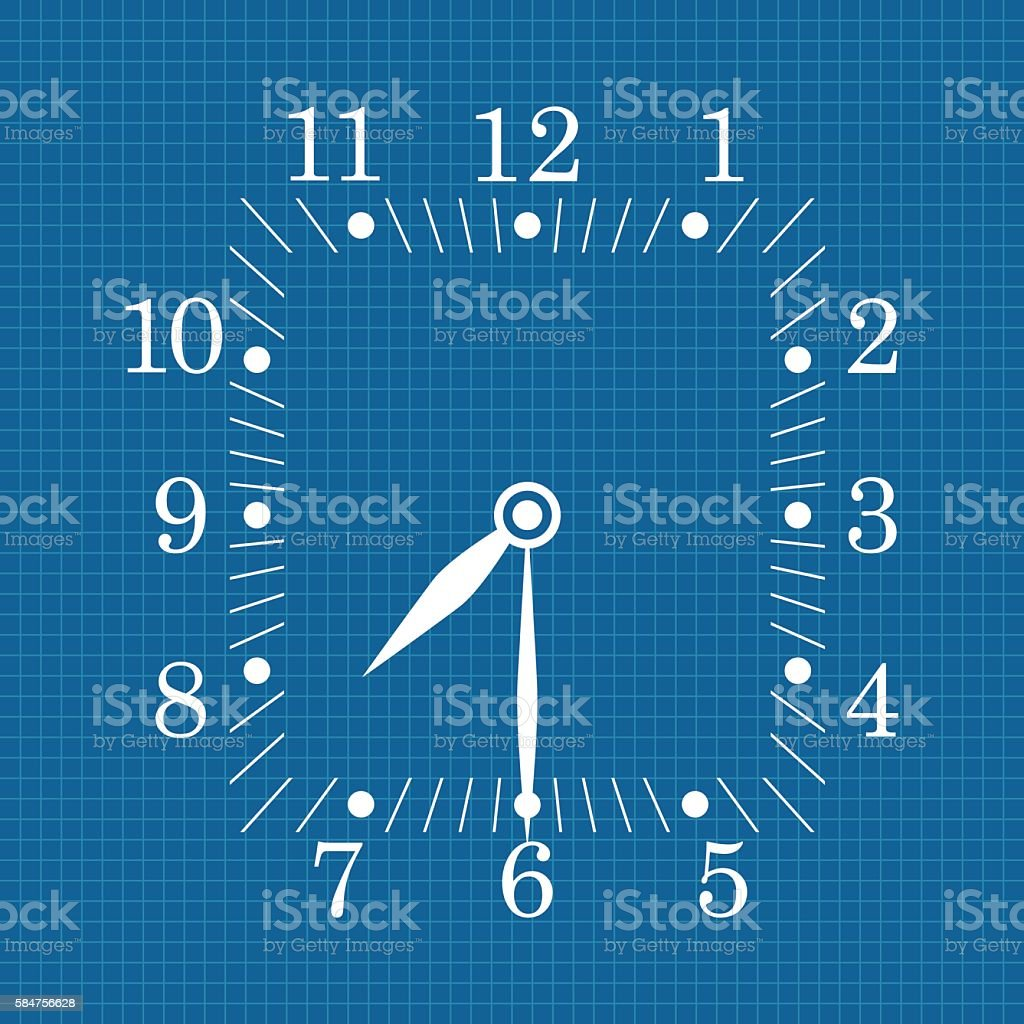 Clock dial on blueprint background seven thirty stock vector art clock dial on blueprint background seven thirty royalty free clock dial on blueprint background malvernweather Gallery