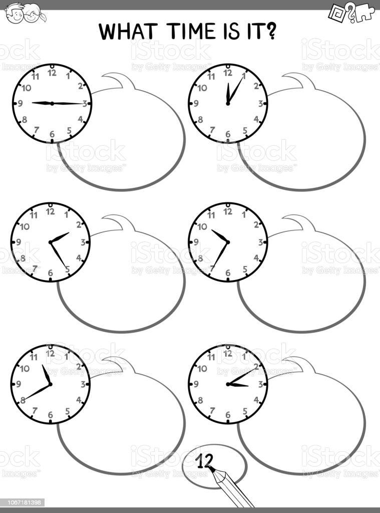 時計子供用教育タスク ぬりえブックのベクターアート素材や画像を多数