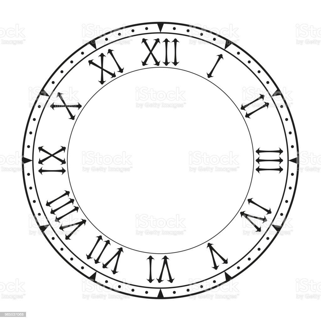 鐘面帶羅馬數字的黑色空時鐘向量圖形及更多剪裁圖圖片 Istock
