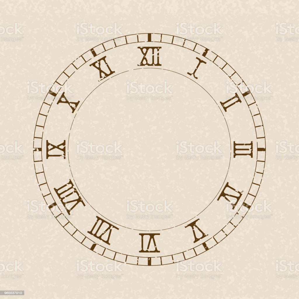 clock face blank clock with roman numerals on beige background stock