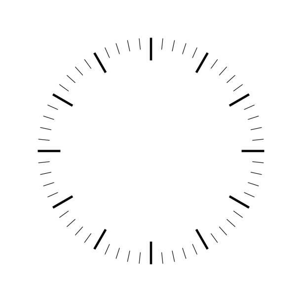 Clock face. Blank hour dial. Dashes mark minutes and hours. Simple flat vector illustration Clock face. Blank hour dial. Dashes mark minutes and hours. Simple flat vector illustration. dial stock illustrations