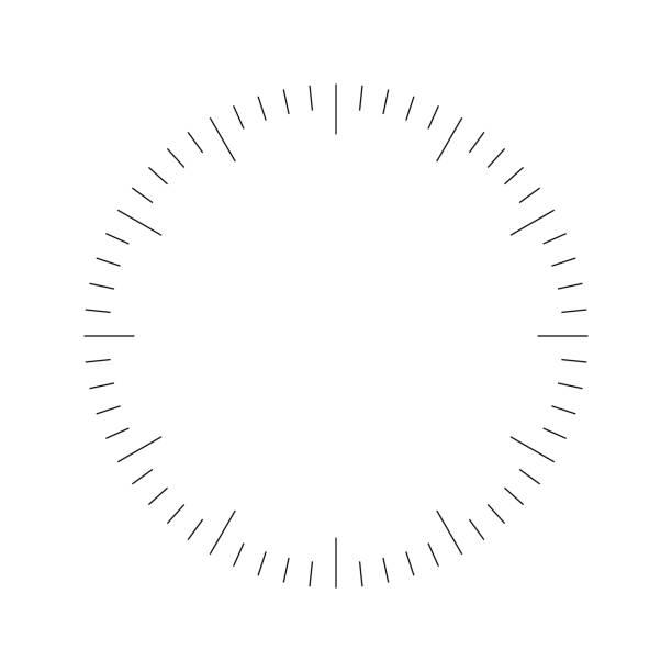 ilustrações, clipart, desenhos animados e ícones de cara do relógio. marcação de hora em branco. traços marcam minutos e horas. ilustração plana simples do vetor - segundo grau