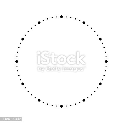 Clock face. Blank hour dial. Dots mark minutes and hours. Simple flat vector illustration.
