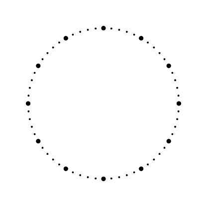 Clock face. Blank hour dial. Dots mark minutes and hours. Simple flat vector illustration