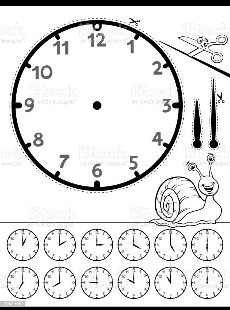 Clock Face Educational Worksheet For Kids Stock Vector Art More