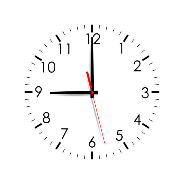 Clock face mock up isolated on white background. 9 o'clock Clock face mock up isolated on white background. 9 o'clock. Vector illustartion clock stock illustrations
