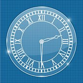 Clock face. On blueprint background