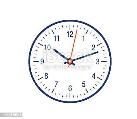 12 hour clock showing showing minute hand and hour hand counting time.