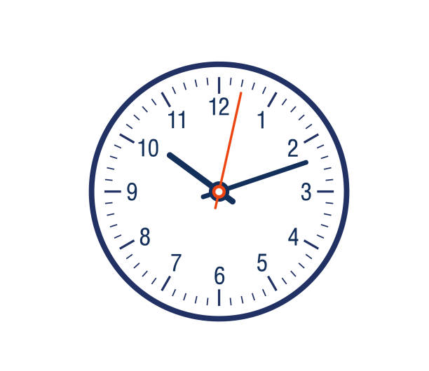 Clock face showing time 12 hour clock showing showing minute hand and hour hand counting time. clock stock illustrations