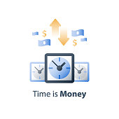 Clock face, time is money, financial solution, fast cash loan, quick money send, payment installment period