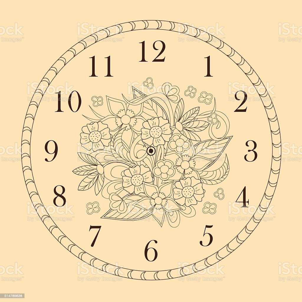Clock Face With Doodle Flowers Stock Vector Art & More Images of ...