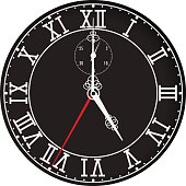 Clock face with roman numerals. Five o'clock
