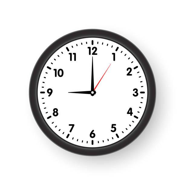 ilustraciones, imágenes clip art, dibujos animados e iconos de stock de cara de reloj con sombra sobre fondo blanco. ilustración de vector. - wall clock
