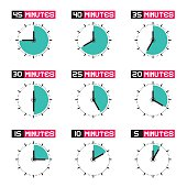 Clock Faces with Time Signs Icons Set