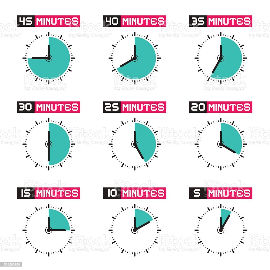Clock Faces with Time Signs Icons Set vector art illustration