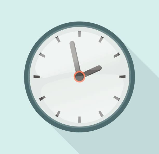 ilustraciones, imágenes clip art, dibujos animados e iconos de stock de reloj de diseño plano - wall clock